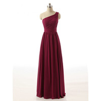 Real Samples Burgundy Bridesmaid Dress One Shoulder Chiffon Draped Long Party Dress Plus Size Beautiful Bridemaids Dresses 2017