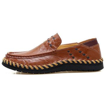 Men Hand Stitching Soft Non-slip Sole Casual Shoes