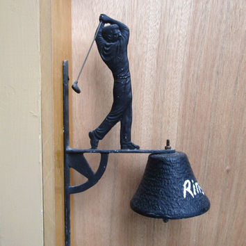 Vintage Golfer Wall Bell, Large Black Metal Dinner Bell with Golfer, Outside Wall Bell w/ Golfing Man, Unique Gift for Golfer