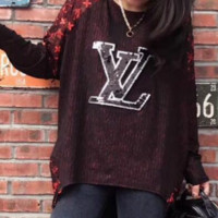 LV fashion trend heavy lace short front long female blouse Red