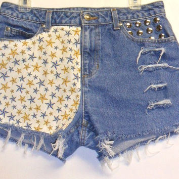 Nautical STAR  print front & Back -Studded Denim Shorts Waist 31 in
