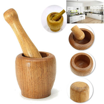 Mixing Tools Wooden Garlic Ginger Grinder Mortar Pestle Grinding Bowl Home Masher Mincer Household User-Friendly Tools