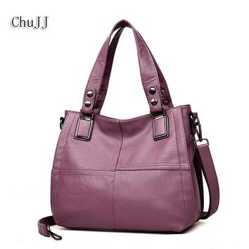 Chu JJ Women's Genuine Leather Handbags Patchwork Shoulder CrossBody Bags Messenger Bag Fashion Hobos Ruched Women Bags