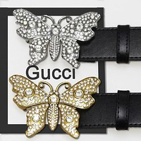GUCCI Women Fashion New More Diamond Butterfly Buckle Leather Belt Golden