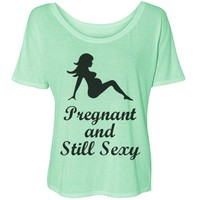 Pregnant and Sexy: Custom Bella Flowy Lightweight Simple T-Shirt - Customized Girl