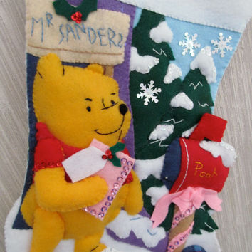 Pooh's Mail Completed Handmade Felt Christmas Stocking from Bucilla Kit