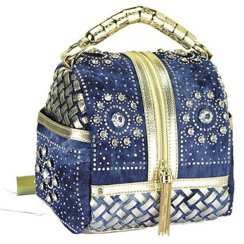 Fireworks diamond skull denim bag hand woven diamond tassel handbag shoulder messenger bag