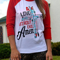Red Contrast Arrow And Letter Print T-Shirt