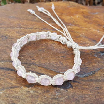 Hemp Bracelet, Rose Quartz Bracelet, Healing Jewelry, Adjustable Bracelet, Gift for Her, Genuine Gemstones, Natural Jewelry, Hemp Jewelry