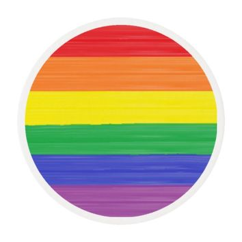 Painted Rainbow Flag Edible Frosting Rounds