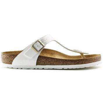 Birkenstock Gizeh Birko Flor Patent Patent White 1005299/1005300 Sandals - Ready Stock