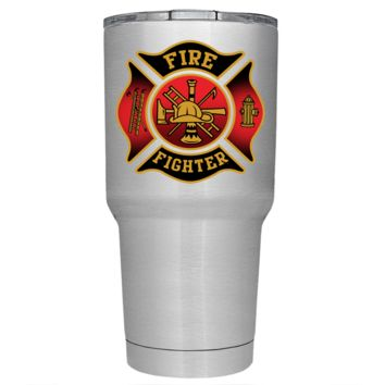 Black Red Fire Department Badge on Stainless 30 oz Tumbler