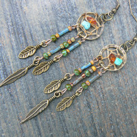 turquoise  and amber dreamcatcher earrings in native american tribal boho belly dancer and hipster style