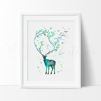 Patronus Stag, Harry + James Potter Watercolor Art Print
