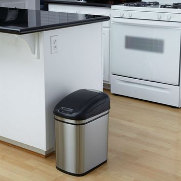 6.3 Gallon Kitchen Infrared Touchless Automatic Motion Sensor Lid Open Trash Can
