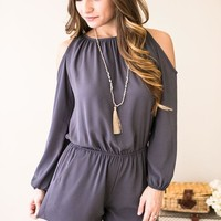 The World On Your Shoulders Open Sleeve Romper- Grey