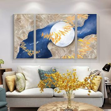 3 pieces wall art Abstract Acrylic Painting On Canvas Original Cuadros abstractos Gold Bird Navy Blue extra Large Wall Pictures Home Decor