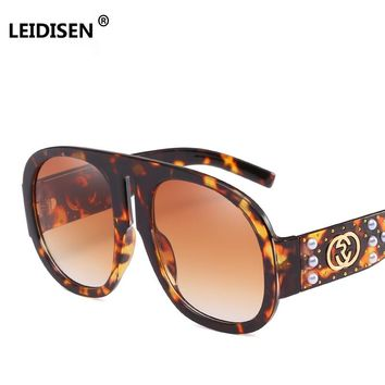 LEIDISEN Big Frame Pearl Rivet Sunglasses Women Brand Designer Vintage Sunglass Fashion Women Glasses Top Quality Oculos UV400