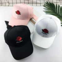 Unisex Casual All-match Letter Flower Embroidery Bow Bandage Flat Cap Hip-hop Baseball Cap Couple Sun Hat