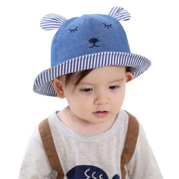 Baby Toddler Bear Cowboy Hats Sun Cap Polka Dot Outdoor Baby Girl Beach Bucket Sun Hat