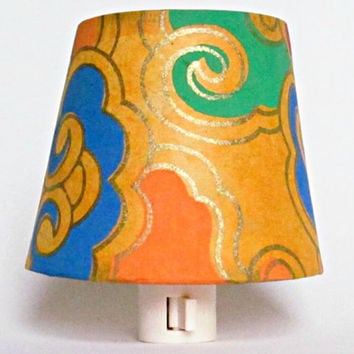 Yellow Night Light, Modern Decor, Night Lights with Tibetan Paper Shade, Blue and Yellow Master Bedroom Decor, Yellow Lighting