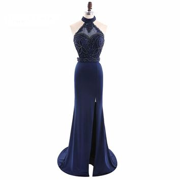 Chiffon Halter Mermaid Long Evening Dresses Sleeveless Backless Side Slit Floor Length Evening Dress