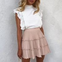 Elegant stripe knitted skirt womens High waist A line ruffled skirt female sweet pink ladies skirts