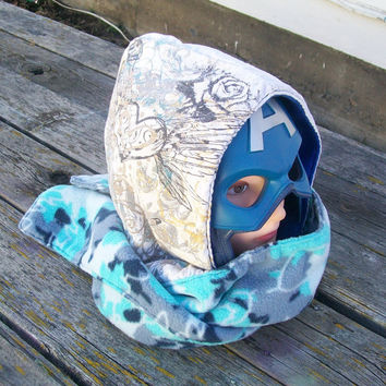 Upcycled Heart With Wings Shirt Fleece Hooded Scarf Scoodie Ready to Ship