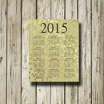 2015 Calendar Gold Black Printable Instant Download Print Poster Instant Download Wall Art Home Decor C104blackgold
