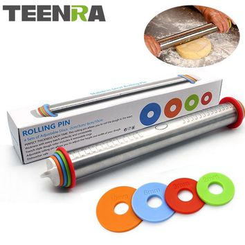 TEENRA 1Pcs 44cm Length Adjustable Rolling Pin Stainless Steel Fondant Rolling Pin Cake Roller Dough Rolling Pin Bakeware Tools