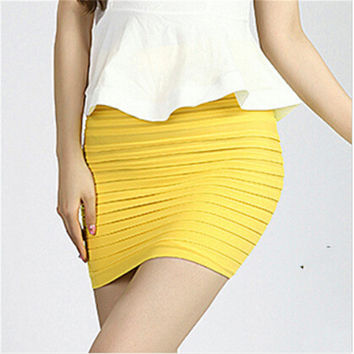 Fashion 14 Candy Color Skirt 2016 Women OL Wear to Work Office Saias Ladies Elegant Package Hip Draped Pencil Mini Skirts