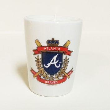 Atlanta Braves Candle - Soy Shot Glass Candle, White - CHOICE OF SCENT
