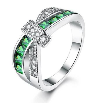 White Gold Plated Cross Green Engagement Ring