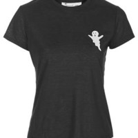 PETITE Ghost Embroidered Tee - Black