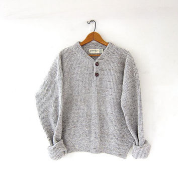 vintage speckled gray sweater. boxy knit sweater. henley sweater. cropped sweater. button front sweater.