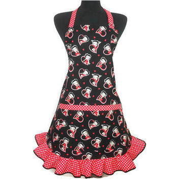 Retro Kitchen Apron for Women , Betty Boop in Hearts , Black with Red and White Polka Dot Ruffle
