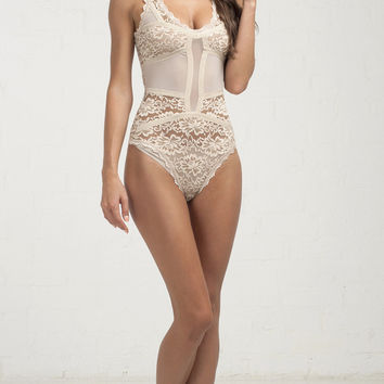 All Over Lace Bodysuit - Nude