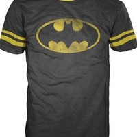 Batman Shield With Stripes Sleeves Mens Black T-shirt