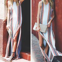 Bohemian Scoop Print Slipt Beach Long Dress