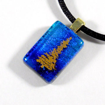 Gold Tree on Blue Green Dichroic Glass Pendant Necklace, Green Blue Purple Fused Glass