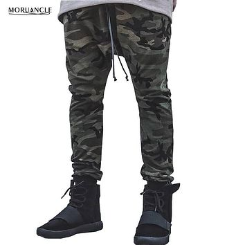 MORUANCLE Fashion Hi-Street Mens Camouflage Joggers Streetwear Hip Hop Pants Male Drop Crotch Trousers Drawstring Elastic Cuff