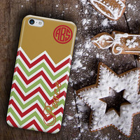 Personalized Christmas Iphone 6 case, Holiday Iphone 5c case, Xmas Iphone 5s case, Christmas chevron Iphone 4s case  (1147)