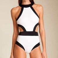 2016 Newest Sexy One-Piece Biniki Cut Out Bandage Swimwear Padded Swimsuit Black White Patchwork Bodysuit Women Bathing Suits [7669483462]