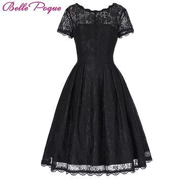 DRESS Short Cap Sleeve Vintage Swing V-Back Lace Office Dress Casual Tunic 1950s Rockabilly Swing Summer Dresses