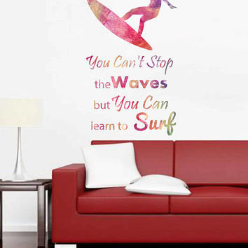 cik1871 Full Color Wall decal Watercolor quote Sea surf surfer hawaii living room bedroom