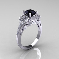 Classic 10K White Gold 1.0 CT Black Diamond Solitaire Wedding Ring R203-10KWGDBD