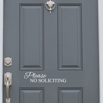 No Soliciting Vinyl Decal Sticker Front Door Custom Vinyl Lettering Custom Door Decal