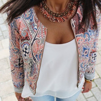 Fashion Women's Floral Slim Casual Summer Blazer Suit Jacket Coat Outerwear = 5618640385