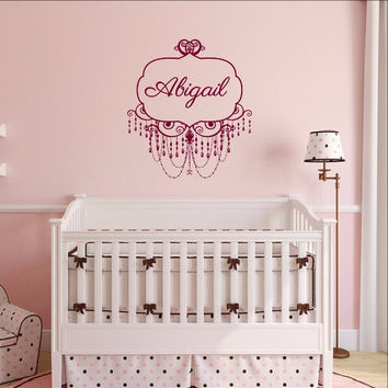 Chandelier Frame Personalized Nursery Girls Room Custom Vinyl Wall Decal 22504
