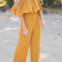 Makenna Mustard Off the Shoulder Jumpsuit